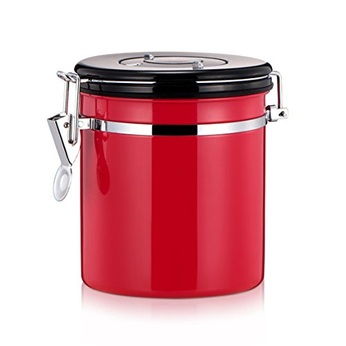 MyLifeUNIT Coffee Canister, Stainless Steel Coffee Bean Container Storage Canister, 4 Colors (Red)