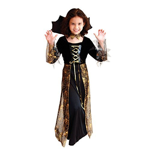 Spider Dress Up Costumes (Spooktacular Girls' Pretty Spider Dress-Up Costume Set with Collar,)