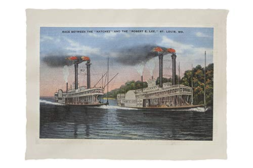 (Lantern Press St. Louis, MO - View of Natchez and Robert E. Lee 6416 (60x80 Poly Fleece Thick Plush Blanket))