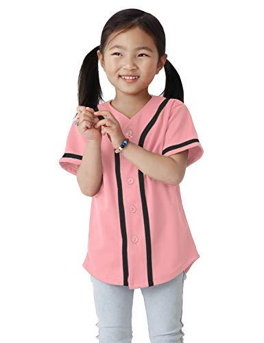 Ma Croix Kids Premium Baseball Jersey Active Button Shirt Team Uniform Little League (6 Junior, 5up01_pnk.blk) ()