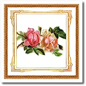 ht_80320_3 Florene Flowers - Victorian Framed Roses - Iron on Heat Transfers - 10x10 Iron on Heat Transfer for White Material