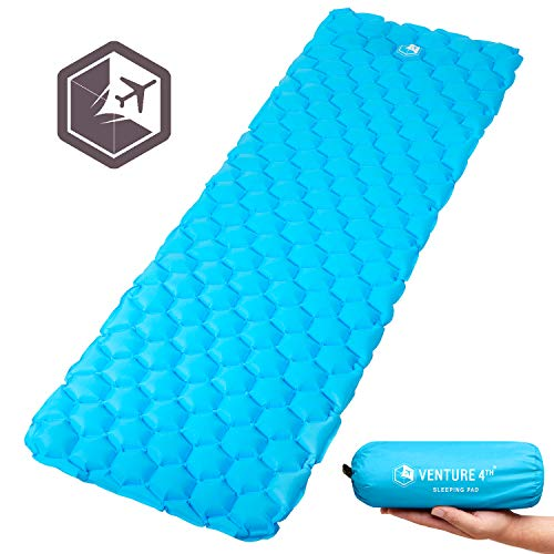 VENTURE 4TH Sleeping Mat Lightweight, Compact, Durable, Tear Resistant, Supportive and Comfy | Sleeping Pad for Camping, Hiking, Backpacking and More | Light Blue