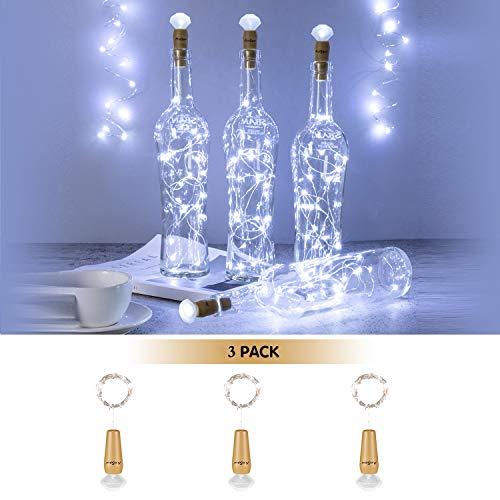 Wine Party Bottle (AnSaw 20-LEDs 3 Pack 2018 Wine Bottle Lights, Diamond Cork Bottle Light,Battery-Operated Fairy Mini String Lights for DIY,Party, Decor, Christmas, Halloween,Wedd (3Pack Diamond White Bottle Lights))