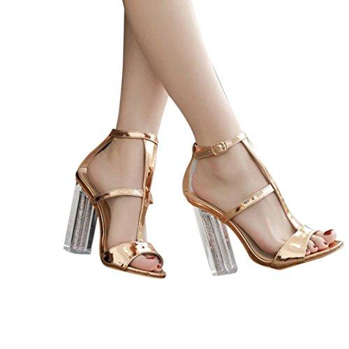 Han Shi High Heel Sandals, Women Fashion Buckle Transparent Studded Heels Shoes (Gold, 7)