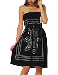 Inital Women's Coverup Dress Bohemian Beach Dress Strapleess Floral Print Cover-up Dress