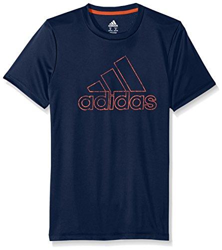 adidas Boys Little Short Sleeve Logo Tee Shirt, Collegiate Blue, 6