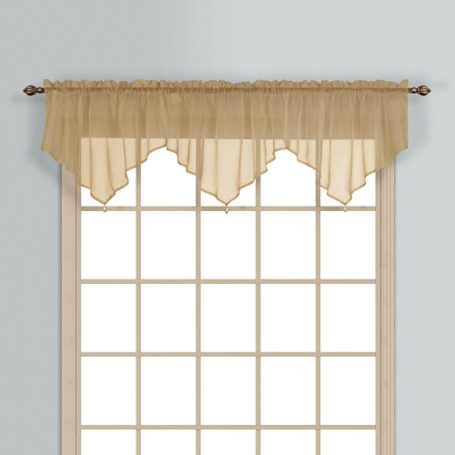 United Curtain Monte Carlo Sheer Ascot Valance, 40 by 26-Inch, Bronze