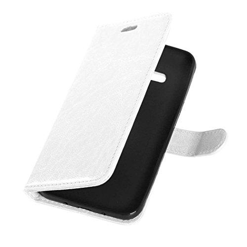 JIALUN-Personality teléfono shell Samsung J3 2016 J320 J36 caso, caja de estilo sólido cartera estilo magnético diseño flip folio PU cubierta de cuero funda para Samsung J3 2016 J320 J36 Seguridad y M White