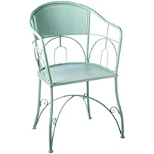 "Diva At Home 35"" Turquoise Blue Knock Down Scroll Patterned Outdoor Patio Chair"