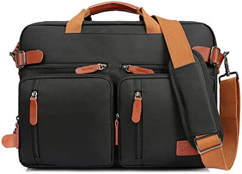 LOKASS Laptop Backpack Convertile Briefcase Shoulder Bag Backpack Multi-Functional Messenger Bag Handbag Fits 17.3 Inches Laptop for Men Women Work Black
