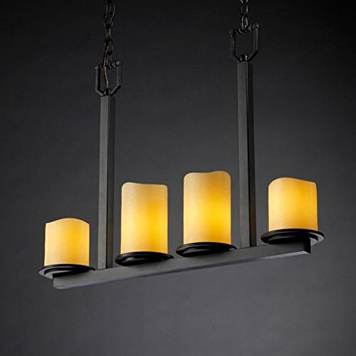 Justice Design Group CandleAria 4-Light Chandelier - Matte Black Finish with Amber Faux Candle Resin Shade Matte Black Candlearia Chandelier