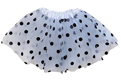 So Sydney Kids, Adult, or Plus Size Polka DOT Tutu Skirt Halloween Costume Dress (M (Kid Size), White & Black Dalmatian) -