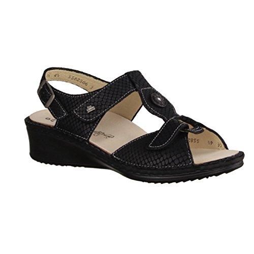 Finn Comfort Adana–Scarpe da donna sandali confortevole/sfusa inserto, Nero, pelle (Aspide)