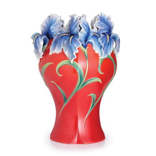 Franz Porcelain Collection Royal Iris Design Sculptured Porcelain Large Vase Limited Edition - Porcelain Vase Sculptured Design