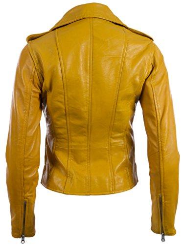 Morbida Di Motociclista Mdk Da Pelle Yellow Giacca Zip Super Donna Multi Asimmetriche Vera RUfBpqC