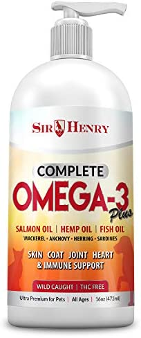 PUREST Wild Alaskan Salmon Oil with Hemp for Dogs Cats, Supports Joint Function, Immune Heart Health Omega 3-6-9 Liquid Food Supplement for Pets Natural Fatty Acids for Skin Coat 16 FL OZ