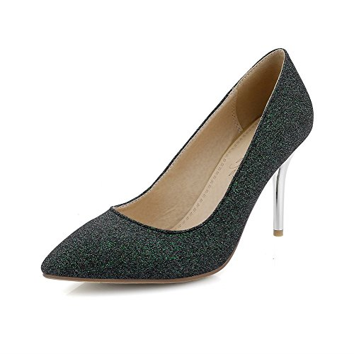 AmoonyFashion Womens Pull On Pointed Closed Toe Spikes Stilettos Blend Materials Pumps-Shoes Green FWw4BQNUV