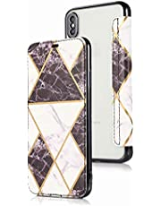 Miagon Clear Back Wallet Case for iPhone XS Max,Ultra Thin Slim Folio Flip Case Plating Chrome Marble PU Leather Cover with Card Slot,Black