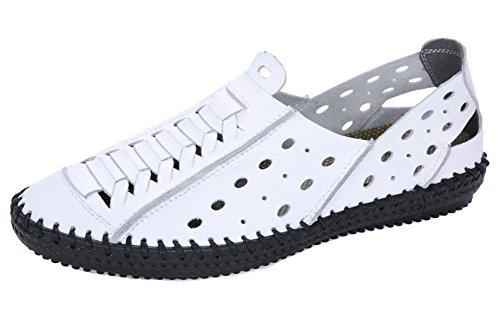 White Closed Sandals Men's Beach Toe Shoes Leather Casual by JiYe Bq1zwz