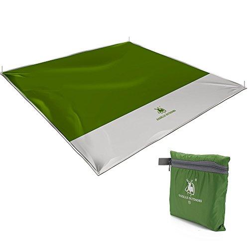 Picknickdecke, Campingdecke Stranddecke Krabbeldecke für Babys 200 x 200cm mit wasserdichter Unterseite mit Schlaufe mit Tasche am Strand im Garten auf der Wiese Einsetzbar