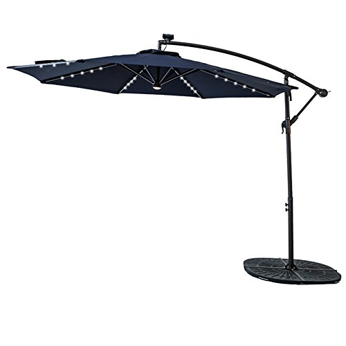 C-Hopetree 10 feet Solar Power LED Lights Outdoor Offset Cantilever Umbrella, LED Lights Hanging Patio Parasol Crank Winder, Large Round, Navy Blue Review