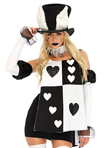 White Rabbit Costume Ladies (Leg Avenue Women's 4 Pc Wonderland White Rabbit Costume, Black/White, LARGE)