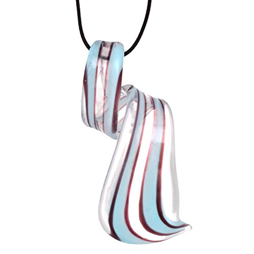Bleek2sheek Murano-inspired Glass Sky Blue Stripe and Clear twist Pendant Necklace
