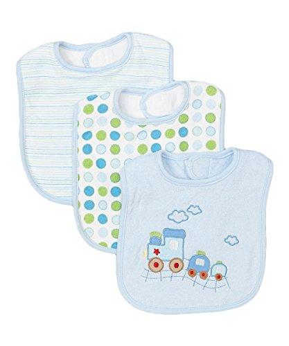 Terry Train - Spasilk Unisex-Baby Newborn 3 Pack Cotton Terry Feeder Bibs, Blue Train, O/S