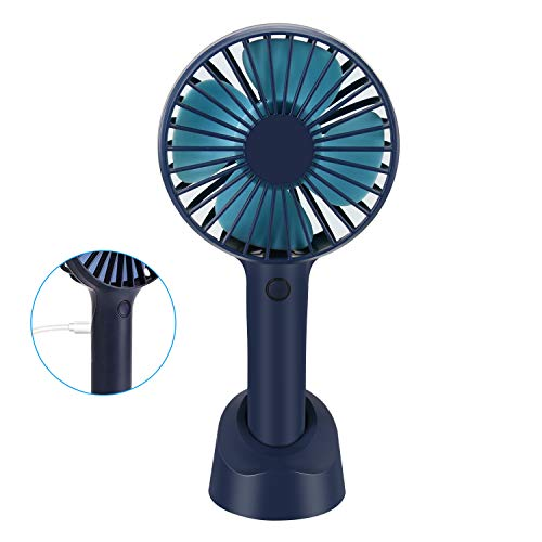 Welltop Mini Handheld Fan with Phone Stand Base Portable Personal Desktop Fan USB Rechargeable Battery Powered 4 Modes for Home Office Bedroom Outdoor Travel (Dark Blue)