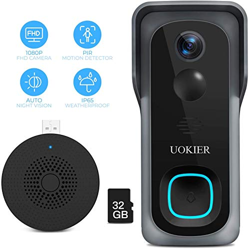 WiFi Video Doorbell Camera, Wireless Security Doorbell, 32GB Pre-Installed, Motion Detection, 1080P Wide Angle, Night Vision, Waterproof, 2-Way Audio, Cloud Storage (Optional), with Indoor Chime