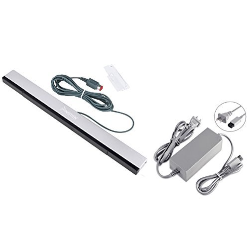 Everydaysource Compatible With Nintendo Wii US AC Power Charge Adapter + Black Wired Sensor Bar by EverydaySource