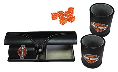 Harley-Davidson Double Carrying Leatherette Dice Cups & 6 H-D Dice, Black 655D