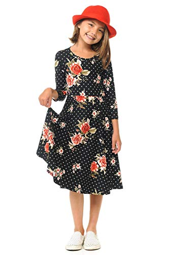 Honey Vanilla Girls' Princess Seam A-Line Dress with Full Skirt Large Floral Black Star -