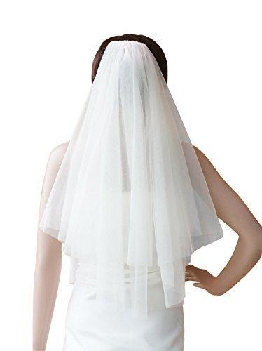 Wedding Bridal Veil with Comb 2 Tier Cut Edge Fingertip Length 35