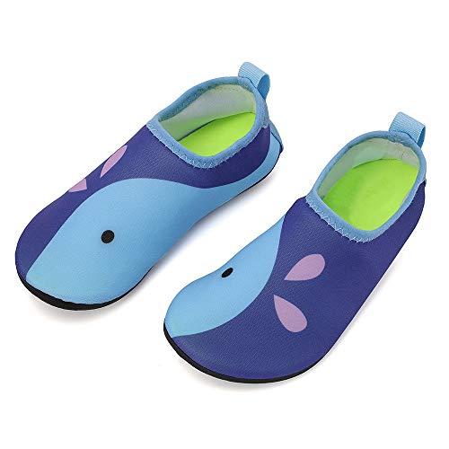 hiitave Kids Water Shoes Non-Slip Quick Dry Barefoot Beach Aqua Swim Pool Socks for Boys & Girls Toddler Navy/Whale 2-3 M US Little Kid