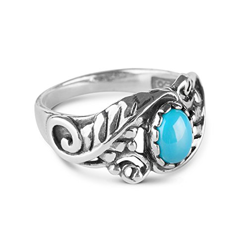 925 Silver and Sleeping Beauty Turquoise Floral Ring - Size 7