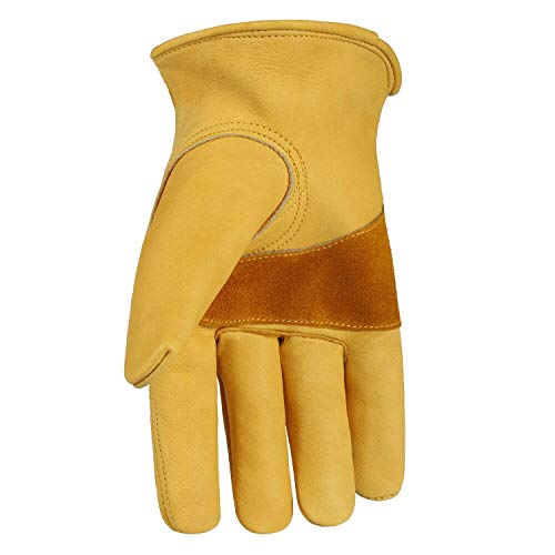 Leather Work Gloves for Men, OZERO Leather Yard with Adjustable Wrist for Garden Working, Construction, Gardening for Commercial Landscaping Tools Medium