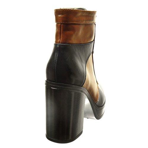 Angkorly - Zapatillas de Moda Botines zapatillas de plataforma botas militares altas mujer cordones Talón Tacón ancho alto 9.5 CM - Negro