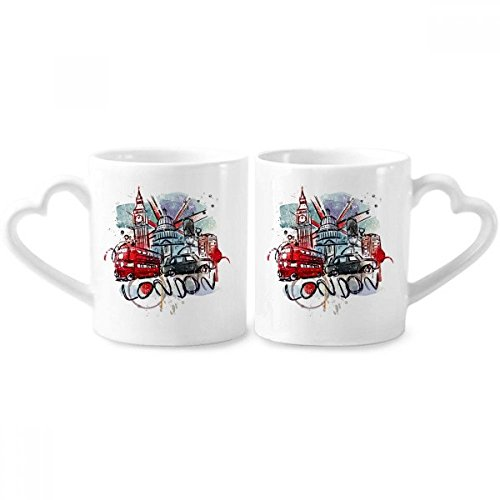 London Bus Big Ben UK Landmark Watercolor Couple Mugs Ceramic Lover Cups Heart Handle 12oz Gift Heart London Mug