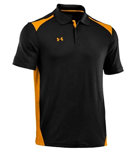 Under Armour Men's Team Colorblock Polo, Black/Steeltown Gold, Small