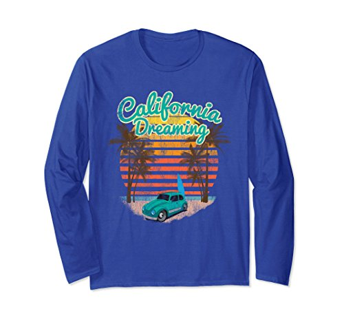 Surf Bug (Unisex Long Sleeve California Dreaming Bug Van Surfboard TShirt Small Royal Blue)