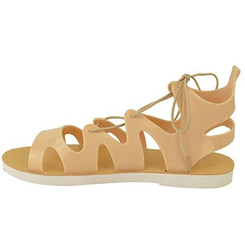 Moda Donna Assetata Scarpe Stringate Basse In Gelatina Sandali Alla Caviglia Alte Scarpe Da Gladiatore Estate Taglia Gelatina