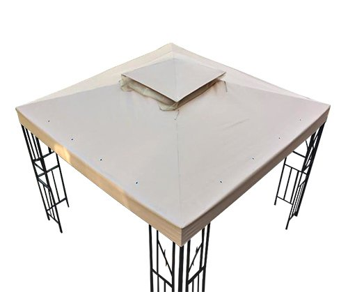 (GH 10' X 10' Gazebo Replacement Canopy Top Cover - Beige, Double-teir)