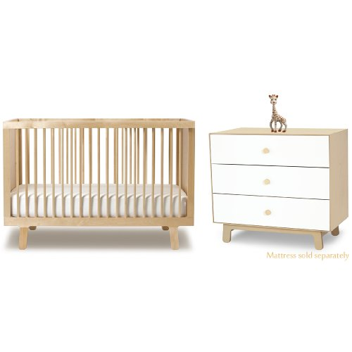 Oeuf Sparrow Crib in Birch and Merlin 3 Drawer Dresser in Birch with Sparrow Base Plus FREE Sophie the Giraffe