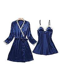 Chinashow Womens Satin Pajamas Set Sexy Ice Silk Suit Set Sleepwear/Nightwear Clothes, Navy Blue #E