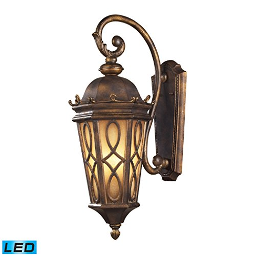 Alumbrada Collection Burlington Junction 3 Light Outdoor LED Wall Sconce In Hazlenut Bronze And Amber Scavo Glass