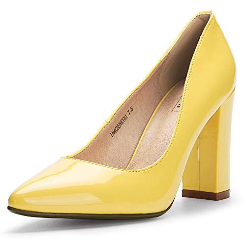 IDIFU Women's IN4 Chunky-HI Classic Closed Pointed Toe Pumps High Chunky Block Heels Dress Office Shoes (9.5 M US, Yellow Patent)