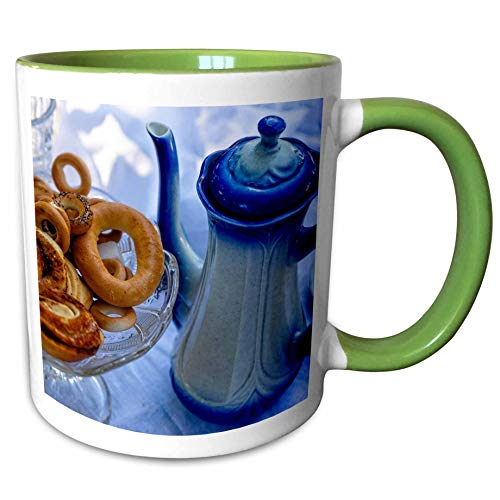 (3dRose Alexis Photography - Still-Life - Coffee pot, pedestal vase full of pastry, round cracknel, white cloth - 11oz Two-Tone Green Mug)