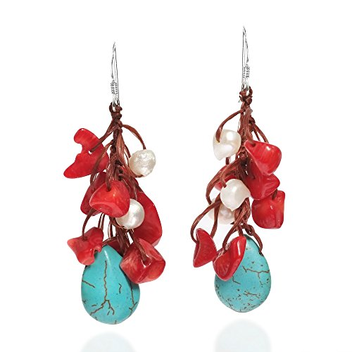 Simulated Turquoise Reconstructed Coral Cultured FW Pearls Cotton Wax Rope .925 Silver Hooks Earrings