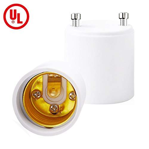 H-TEK GU24 to E26/E27 Adapter, LED Lamp Adapter, Bulb Holder Socket, Maximum Wattage 150W, Heat Resistant Up to 200℃, Fire Resistant, Converts Pin Base Fixture Standard Screw-in Socket.(Pack of 2) (Gu24 Socket)